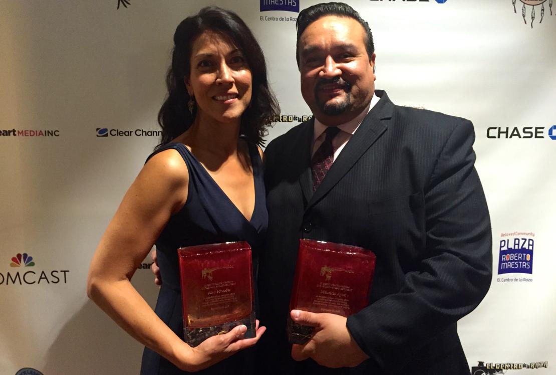 Aiko and Mauricio with Award