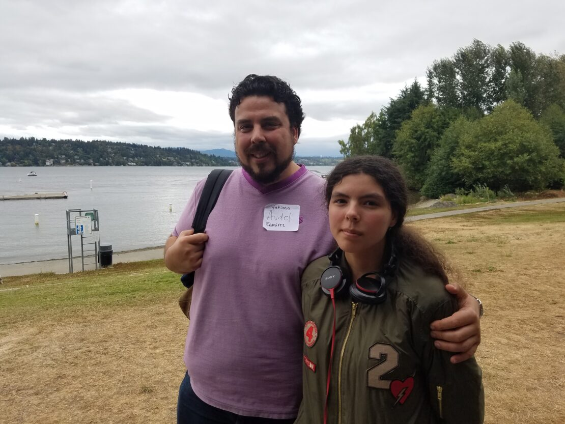 Audel Ramirez and his daughter