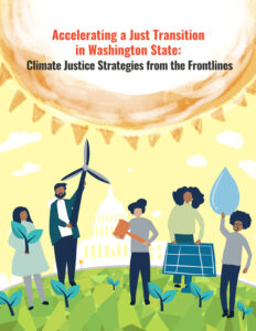 Report cover graphic of people of color holding examples of renewable energy.