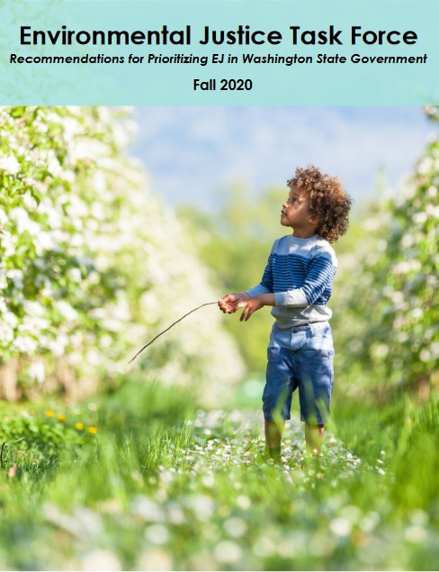 Report cover image of young child in field looking skyward.