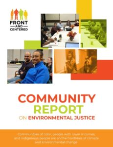 Report cover with participants in the community process.